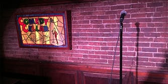 empty stage at the comedy cellar