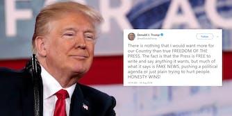 donald trump free press fake news tweet