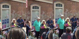 Heather Heyer's mother speaking at the memorial of her death in Charlottesville, Virginia.