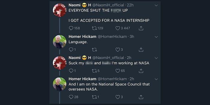 homer hickam nasa internship tweet