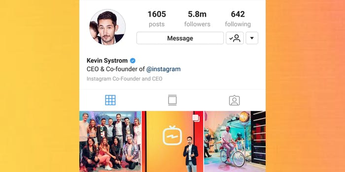 Verified status on Instagram, Kevin Systrom