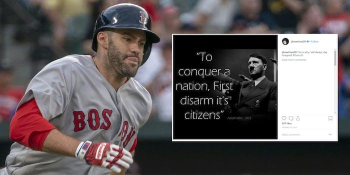 J.D. Martinez with fake Hitler gun quote Instagram post