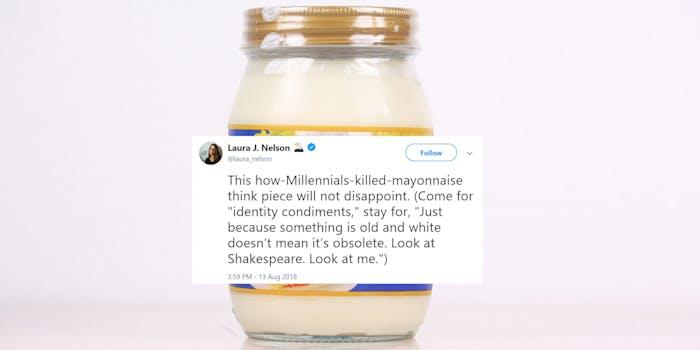 """""""how Milennials killed mayonnaise"""" tweet over mayonnaise jar"""