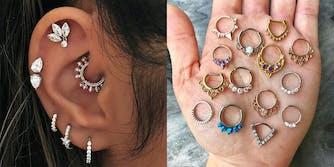 multiple ear piercing septum daith jewelry
