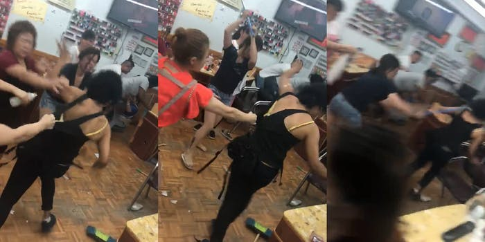 nail salon broomstick attack