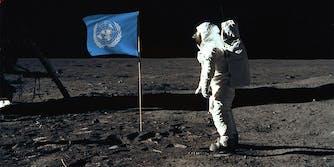 neil armstrong apollo 11 moon landing UN flag