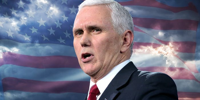 Mike Pence in front of sunbeam and American flag