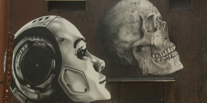 Art of robot face and skull