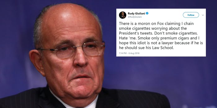 rudy giuliani with cigarette tweet