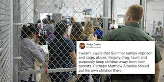 A border patrol processing center with a tweet about child detention 'summer camps.'