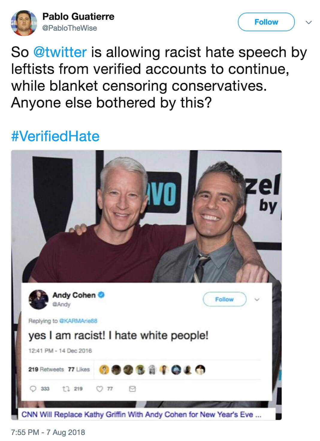 #VerifiedHate accuses verified liberal users of being racist.
