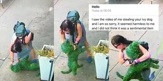 Woman steals a topiary dog from a Brooklyn bakery then apologizes via email.