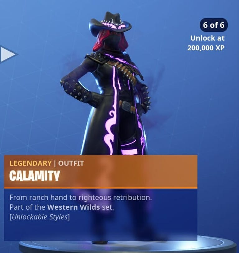 Fortnite Season 6 new skins : Calamity's 6th and final phase. Fear her.