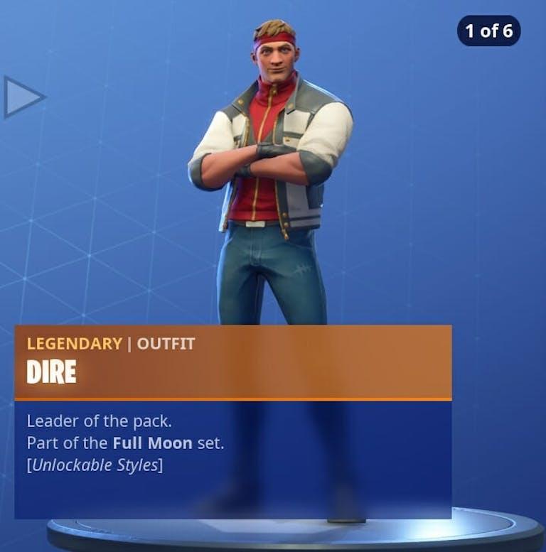 Fortnite Season 6 new skins Dire's base skin can be unlocked at Tier 100.