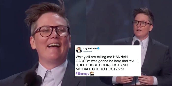 Hannah Gadsby presenting an award at the Emmys.