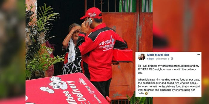 A Filipino woman saw her elderly neighbor order directly from the Jollibee delivery man.