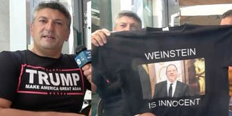 Trump supporting-Italian filmmaker Luciano Silighini Garagnani holds up a 'Weinstein Is Innocent' T-shirt.