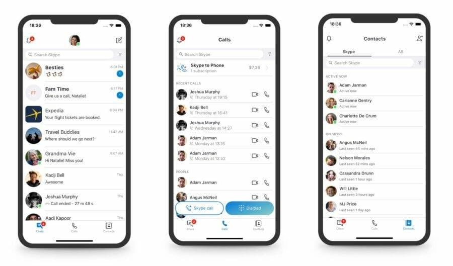 Skype app screenshots