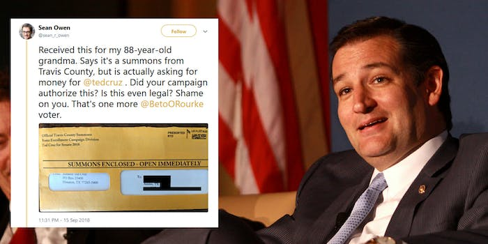 Sen. Ted Cuz (R-Tx.) reportedly sent out mailers to Texas voters that looks similar to official summons. They asked for donations to his campaign.