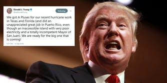 President Donald Trump drew the ire of the internet on Wednesday morning after he claimed that the country's emergency response to Hurricane Maria in Puerto Rico