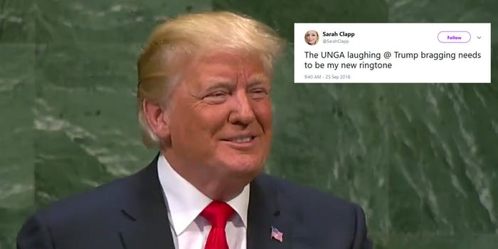 The UNGA laughed at President Donald Trump's remarks on Tuesday.