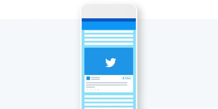 Twitter graphic on phone