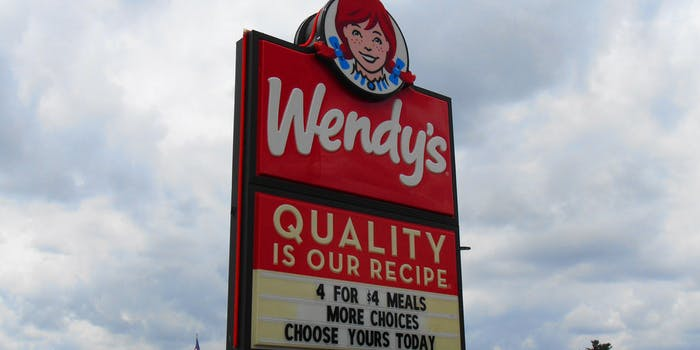 Wendy's Sign, cloudy sky background