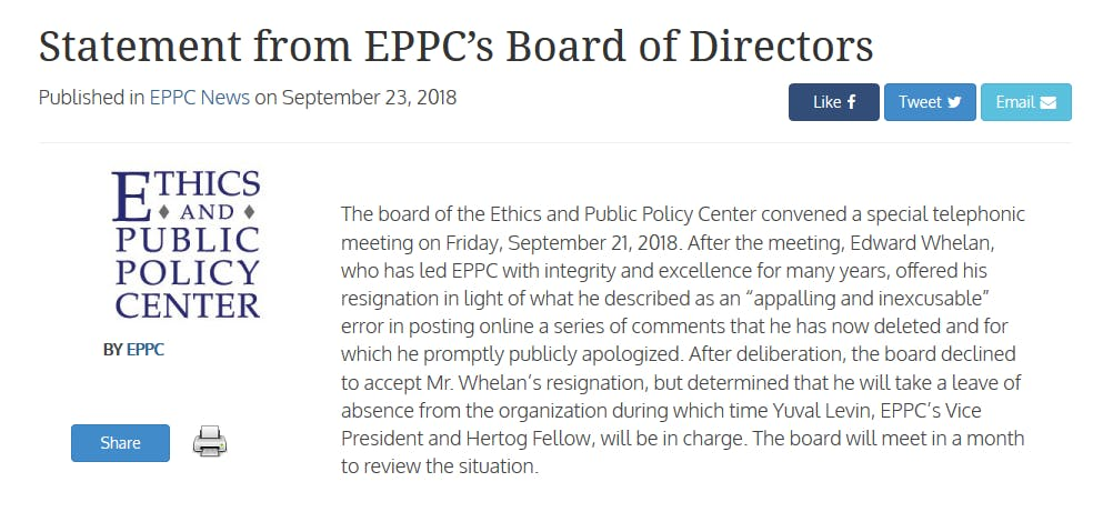 Ed Whelan, who posted a theory in defense of Brett Kavanaugh, is taking a leave of absence.