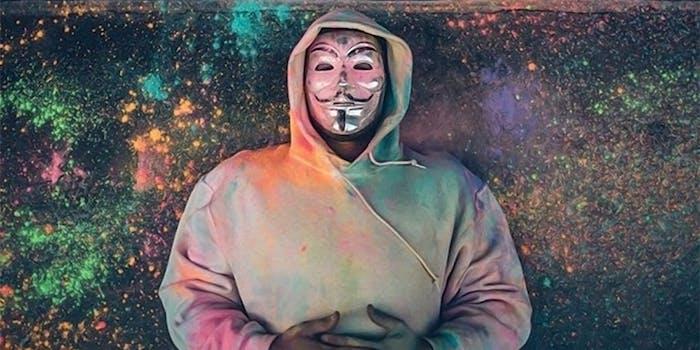 atticus guy fawkes mask graffiti artist