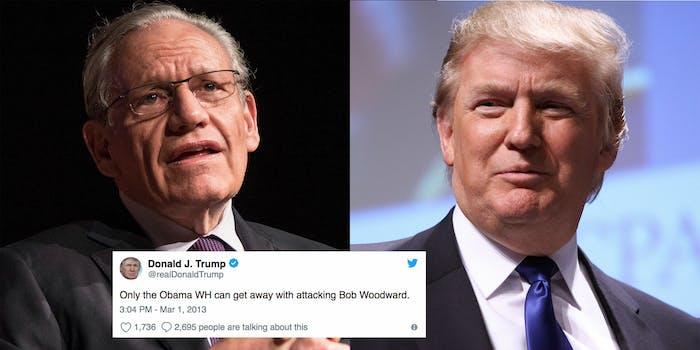 Trump previously praised Bob Woodward's work.