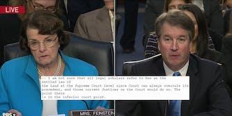 Sen. Dianne Feinstein asks Supreme Court nominee Brett Kavanaugh about Roe v. Wade.