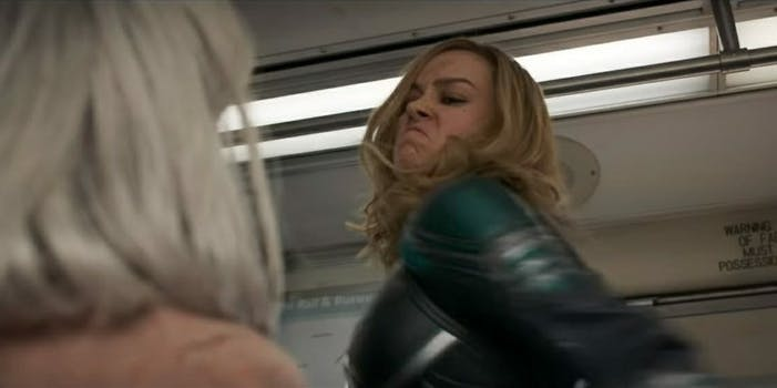 captain marvel old lady punch