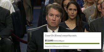Brett Kavanaugh and a GoFundMe campaign for Christine Blasey Ford.