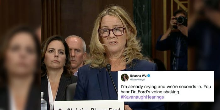 Christine Blasey Ford at the Kavanaugh hearing