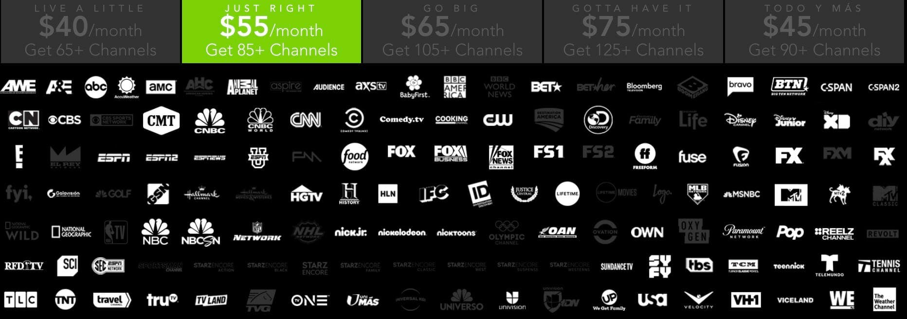 directv now channel lineup - just right