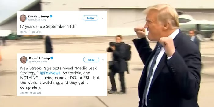 donald trump raised fists 911 memorial tweets