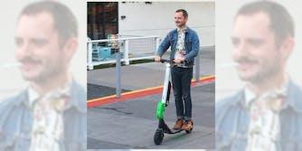 elijah wood on a scooter