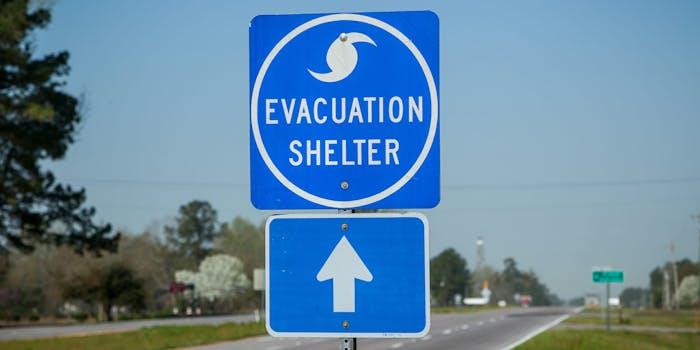 evacuation shelter highway sign