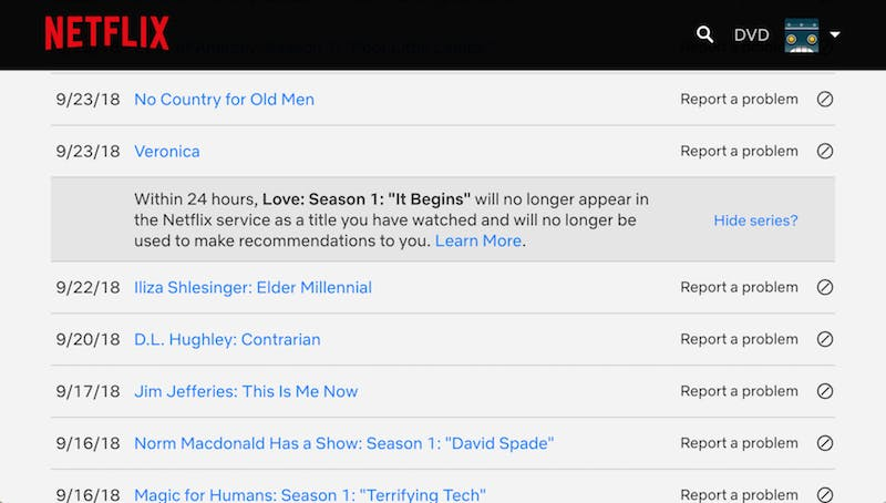 How to delete Netflix watch history