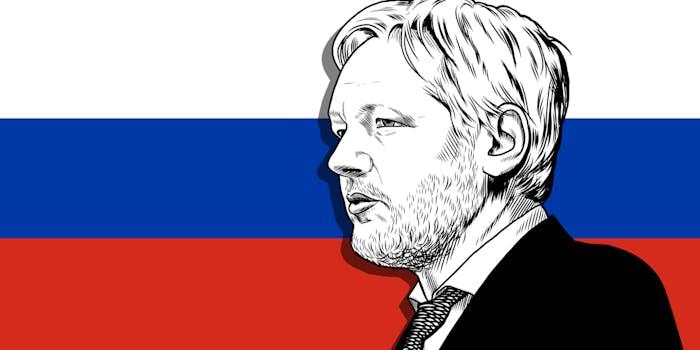 julian assange russian flag