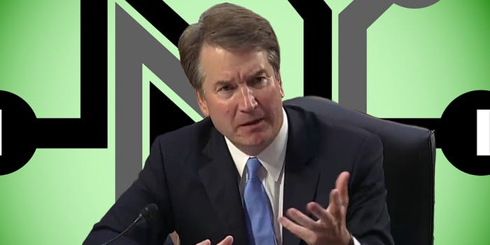 kavanaugh in front of net neutrality logo