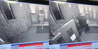 man follows woman into building surveillance tape