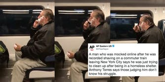 Anthony Torres, who was homeless, was recorded shaving on a commuter train and mocked online.