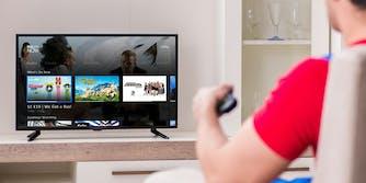 man watching directv now online