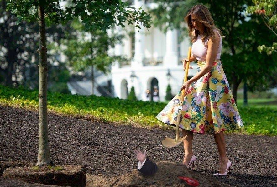 The internet has made a meme of this photo of Melania Trump gardening in stilettos.