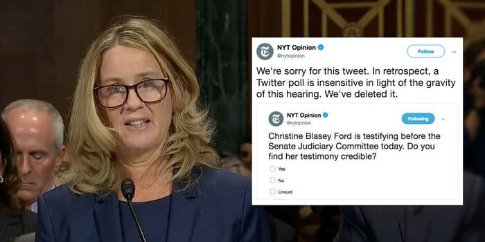 New York Times tweeted a poll about Christine Blasey Ford's believability