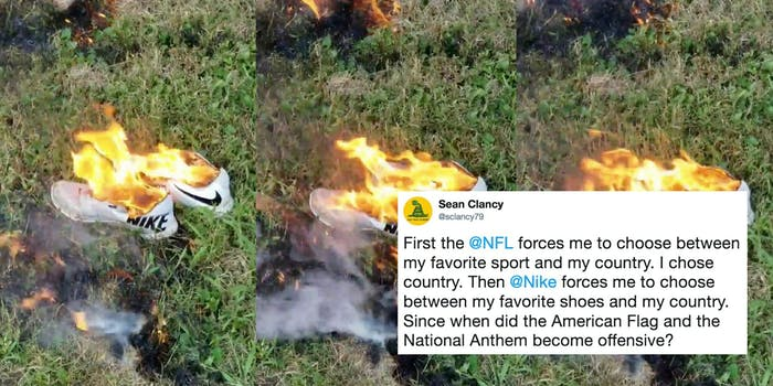 People are using #NikeBoycott to destroy their Nike apparel as a move against Colin Kaepernick.