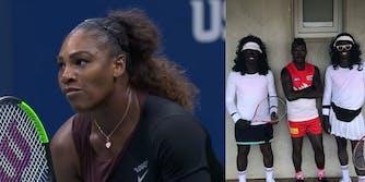 Serena Williams and Australian football players wearing blackface.