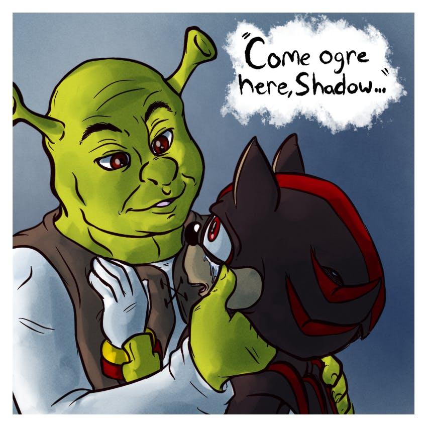 shrek memes : shrek shadow meme