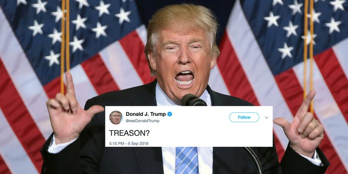Twitter memes mock Trump for his 'TREASON?' tweet responding to the anonymous New York Times op-ed.